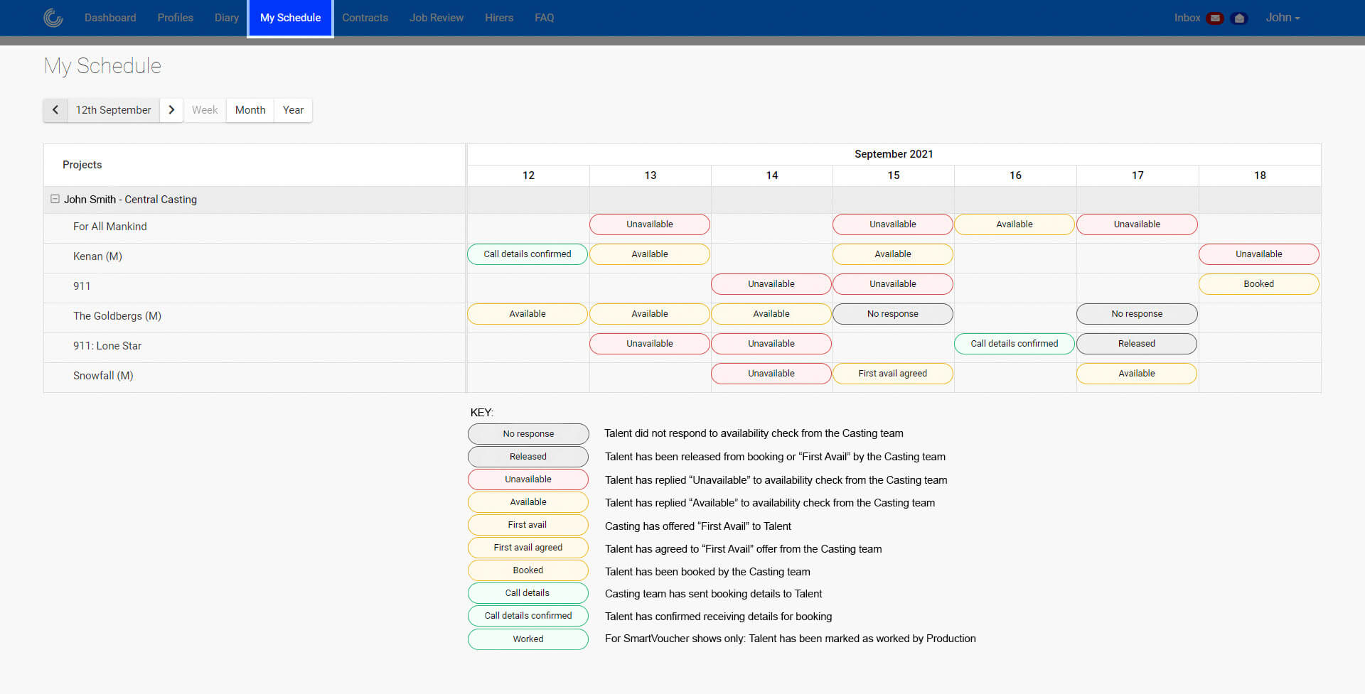 Screenshot of the My Schedule section of the Casting Platform.