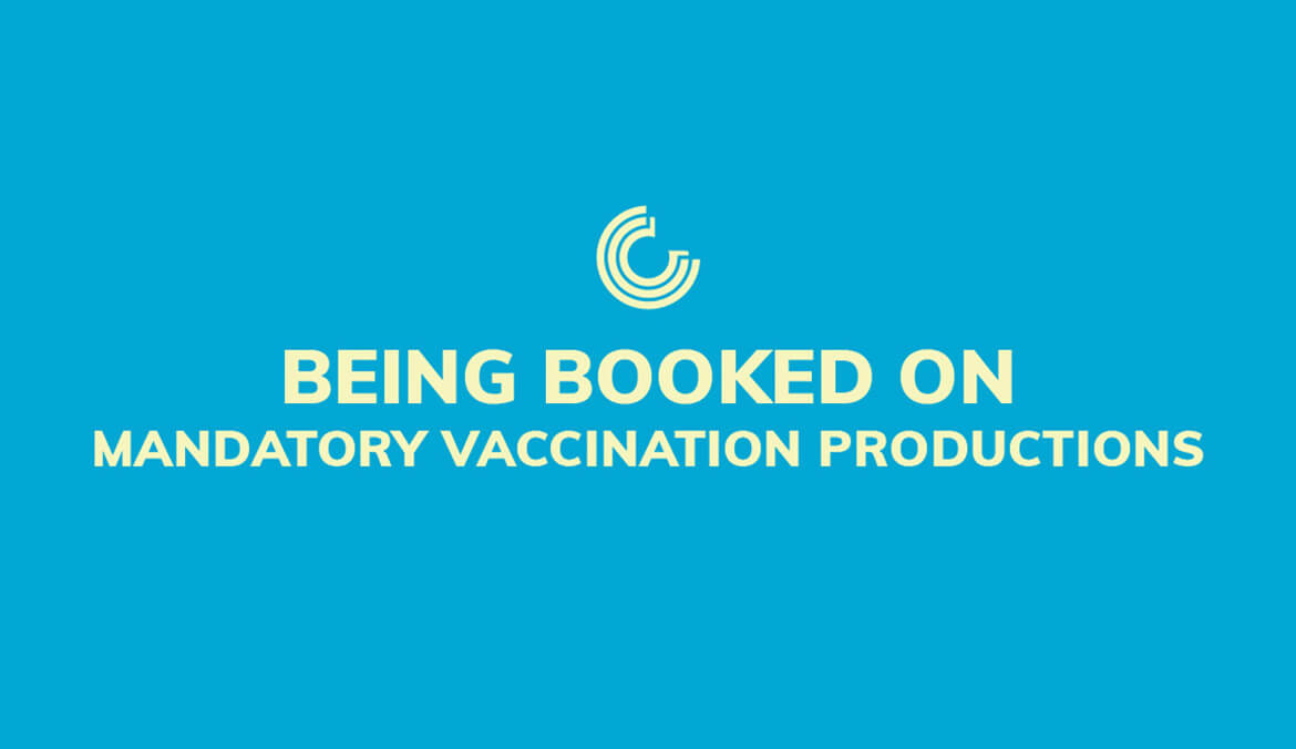 Being booked on mandatory vaccination productions.