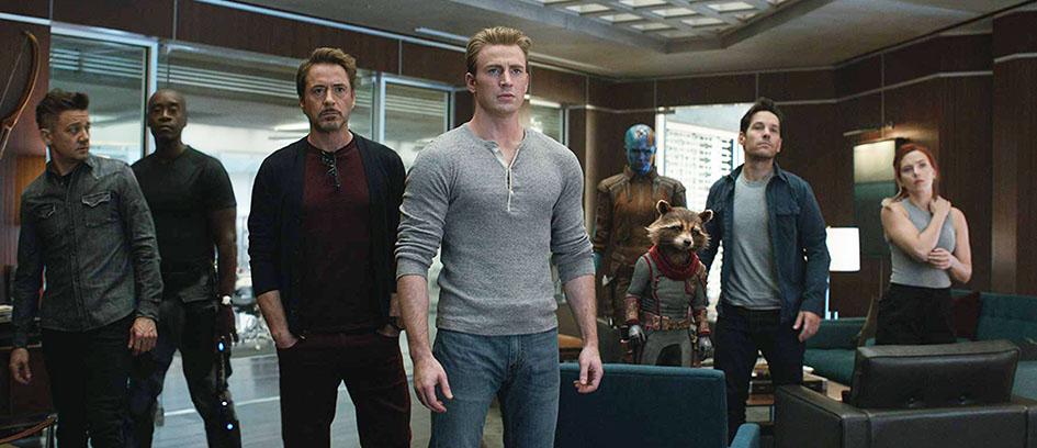 Clint Barton, Rhodey, Tony Stark, Steve Rogers, Nebula, Rocket, Scott Lang, and Natasha Romanoff in Avengers: Endgame