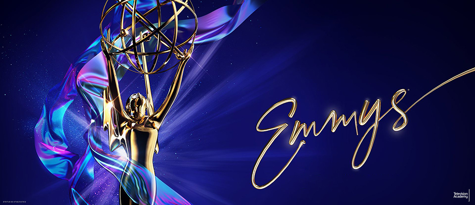 Emmy statue on a blue background with Emmys logo