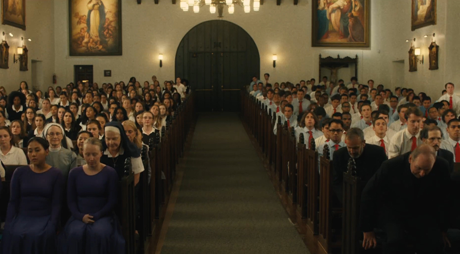 Church scene in Lady Bird
