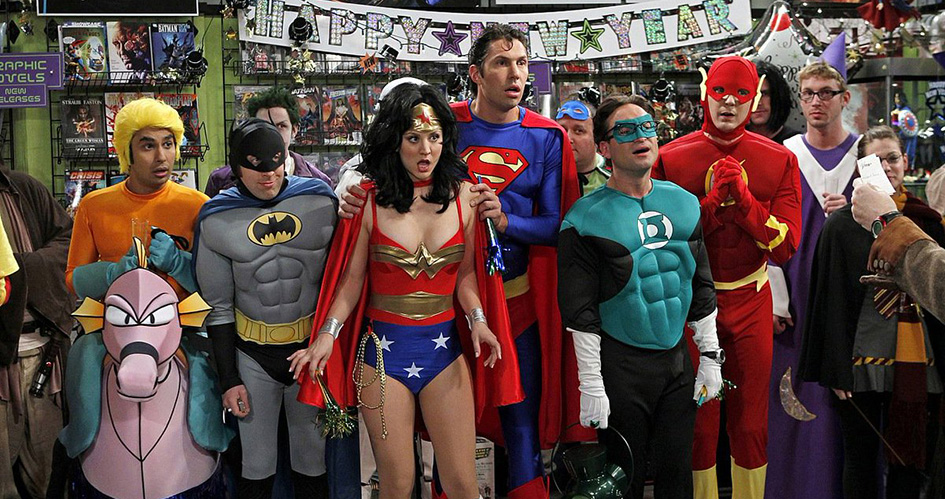 The Big Bang Theory cast dressed as DC superheroes.