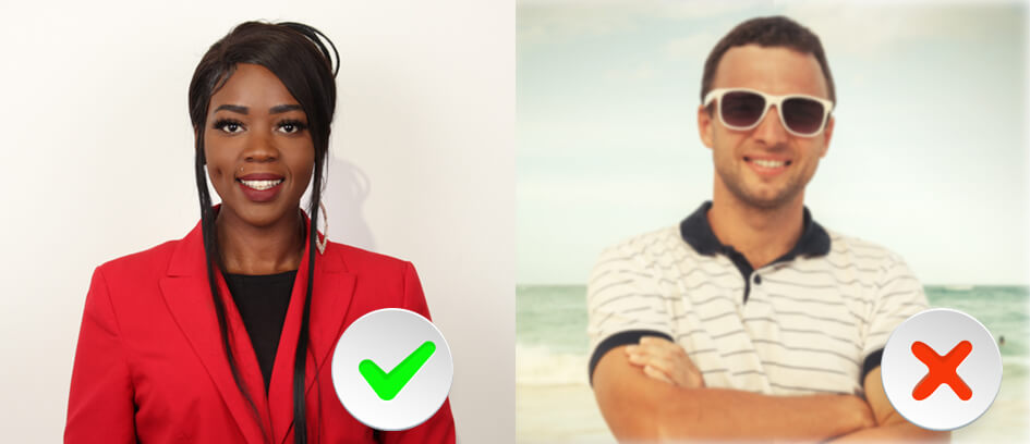 A woman with a green check mark and a man wearing sunglasses with a red x.