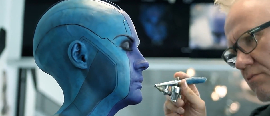 Karen Gillan getting her special effects makeup done for Guardians of the Galaxy