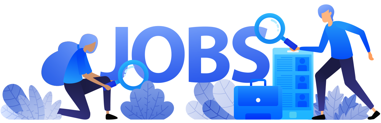 The word jobs in blue text with an illustrated person on each side