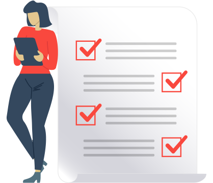 Illustrated woman halding a tablet standing next to a checklist