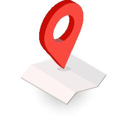 Illustration of map and red locator symbol