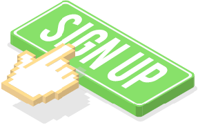 Illustration of hand clicking a sign up button.