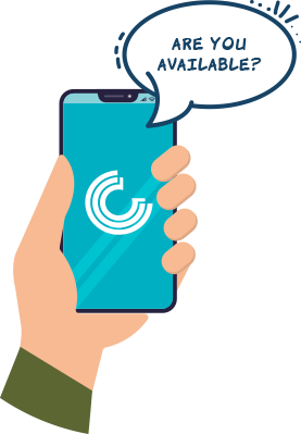 Illustration of a hand holding a cell phone with a text bubble reading 'are you available?'