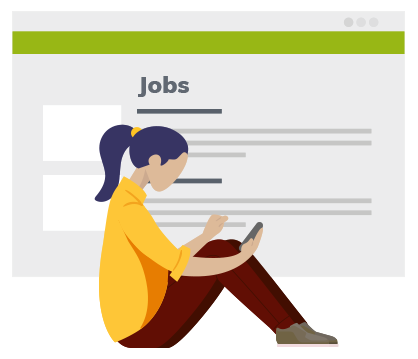 Illustrated woman holding a phone sitting in front of a background acting jobs listing