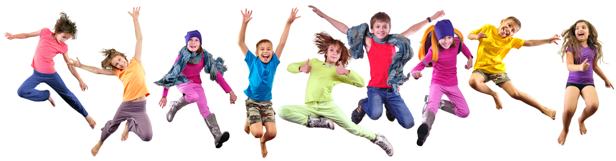 Happy diverse children jumping on a white background